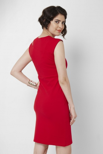 AND Solid Cut Out Shoulder Dress