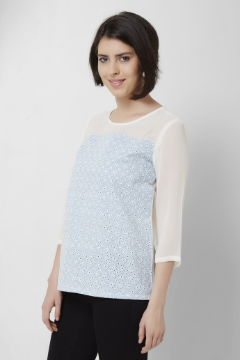AND Round Neck 3/4th Sleeves Schiffli Top