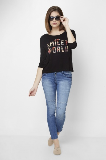 SMILEY WORLD 3/4th Sleeves Top