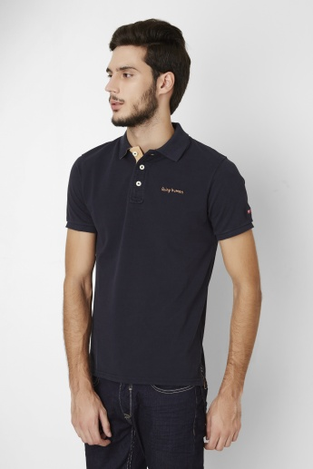 BEING HUMAN Solid Polo Neck T-Shirt