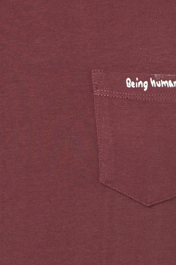 BEING HUMAN Solid Chest Pocket T-Shirt