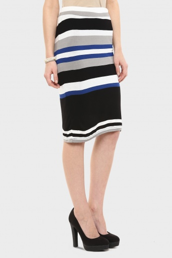 BOSSINI Striped Pencil Fit Midi Skirt
