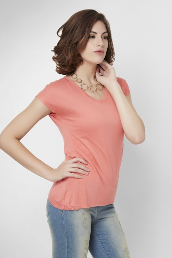BOSSINI Solid V-Neck Basic T-Shirt
