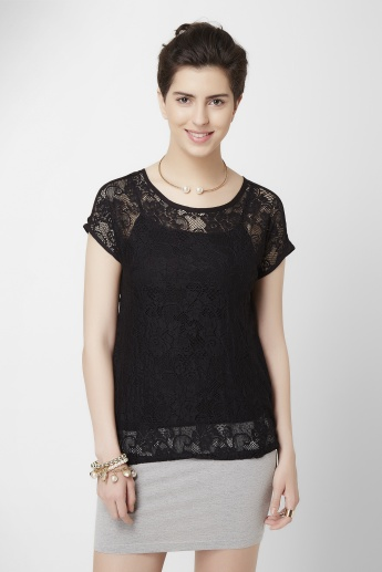 BOSSINI Lace Short Sleeves Top