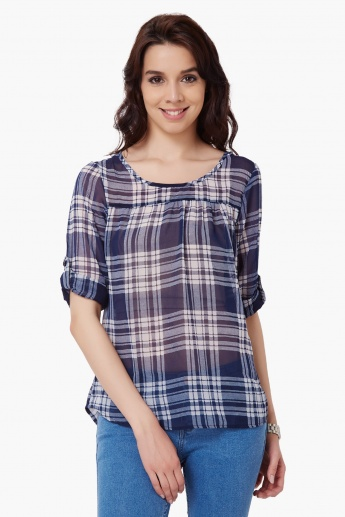 BOSSINI Round Neck Check Blouse
