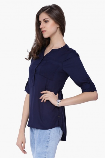 BOSSINI Solid Band Collar Blouse