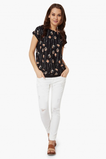 BOSSINI Boat Neck Floral Print Top