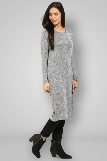 CODE Round Neck Slub Long Tunic