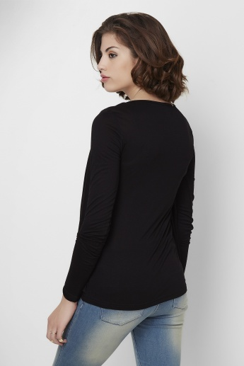 CODE Solid Full Sleeves Top With Shrug