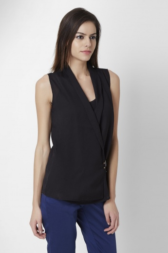CODE Mock Wrap Sleeveless Top
