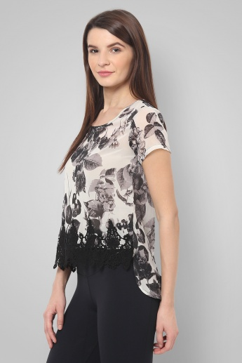 CODE Printed High Low Hem Top
