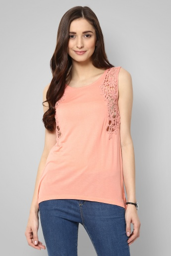 CODE Sleeveless Lace Trim Top