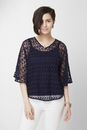 CODE Solid Lace Bell Sleeves Top