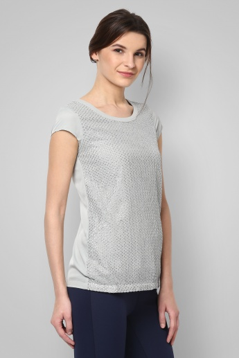 CODE Embellished Round Neck Top