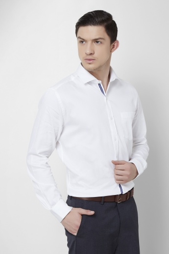 CODE Solid Spread Collar Full Sleeves Shirt