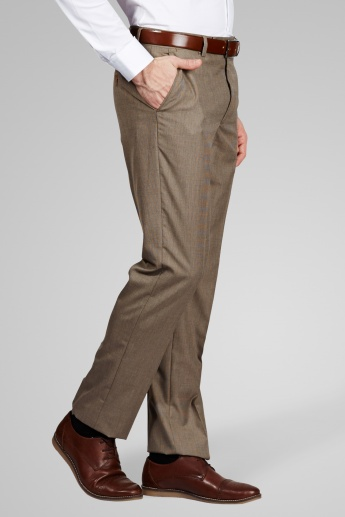 CODE Regular Fit Formal Flat Front Trousers