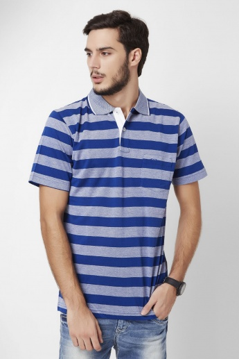 COLORPLUS Striped Polo Neck Half Sleeves T-Shirt