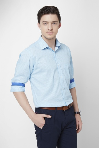 COLORPLUS Solid Spread Collar Shirt