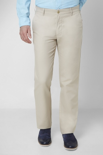 COLORPLUS Solid Semi Casual Pants