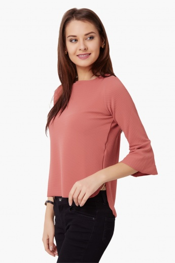 CODE Textured Bell Sleeves Top