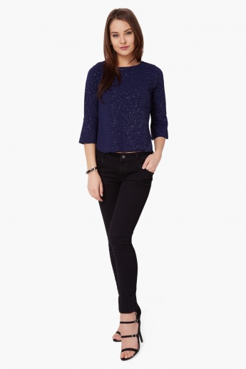CODE Hint-Of-Sparkle Bell Sleeves Top