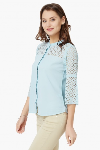 CODE Laser Cut Flared Sleeves Shirt