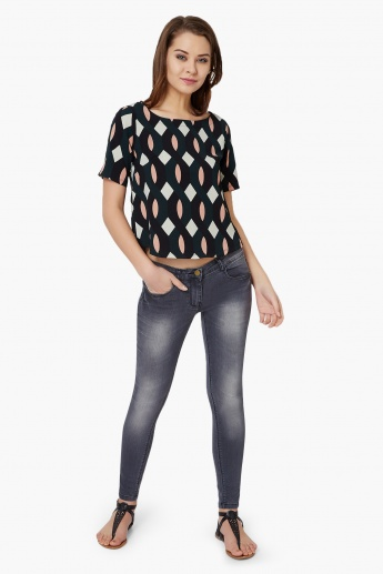 CODE Geometric Print Round Neck Top