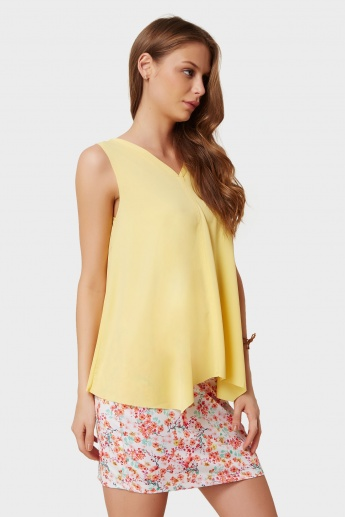 CODE Solid Flared Sleeveless Top