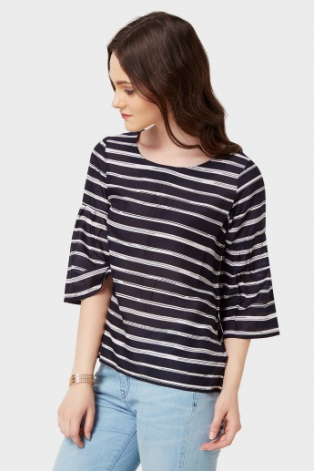 CODE Striped Flared Sleeves Blouse