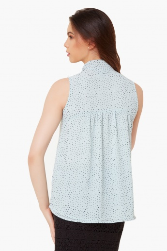 CODE Printed Sleeveless Blouse