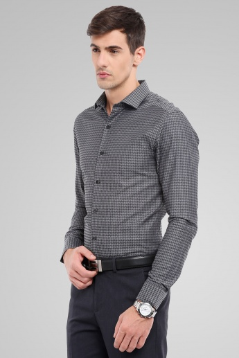 CODE Houndstooth Print Slim Fit Formal Shirt