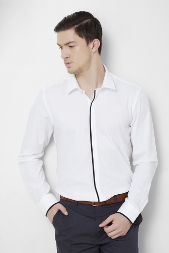 CODE Contrast Placket Full Sleeves Shirt