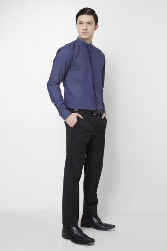 CODE Solid Mandarin Collar Full Sleeves Shirt