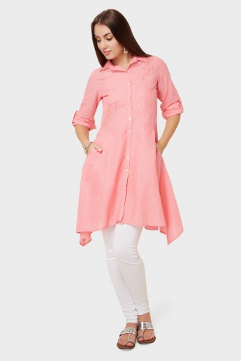 BIBA Embroidered Asymmetric Hem Shirt Kurti