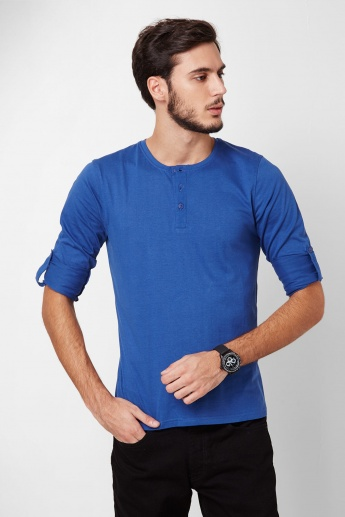 FAME FOREVER Roll-Up Sleeves Henley T-Shirt