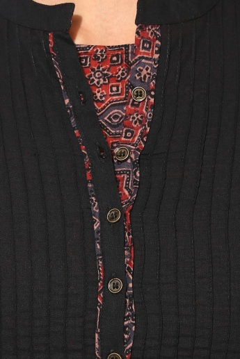 BIBA Band Collar 3/4th Sleeves Straight Kurta