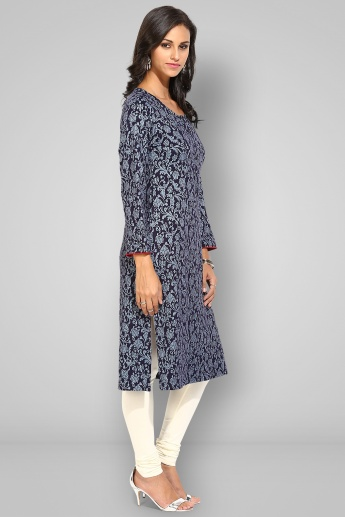 BIBA Round Neck Full Sleeves Straight Kurta