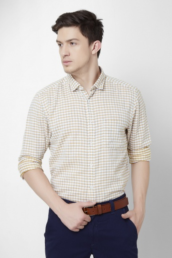 CODE Slim Fit Checks Print Shirt