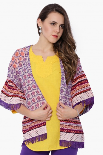 FUSION BEATS Printed Tasselled Shrug