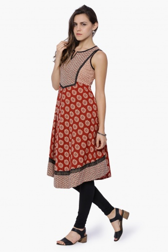FUSION BEATS Printed Sleeveless Kurta
