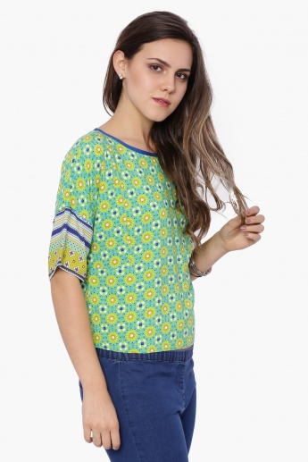 FUSION BEATS Printed Round Neck Top