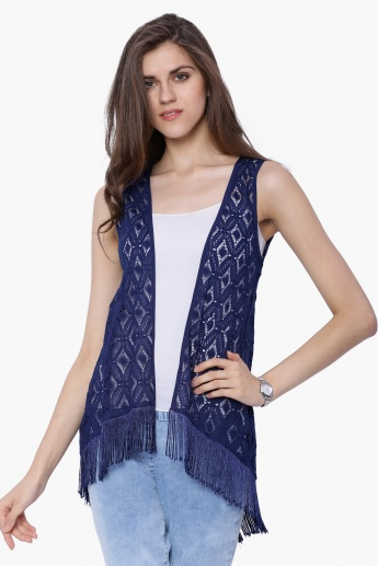 FUSION BEATS Tasselled Sleeveless Shrug