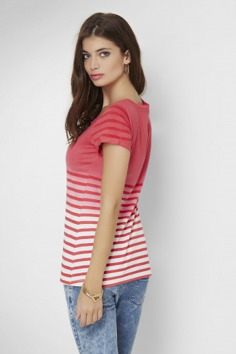 FAME FOREVER Striped Round Neck T-Shirt