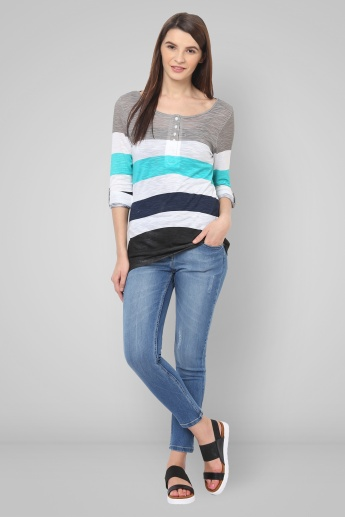 FAME FOREVER Striped Roll-Up Sleeves Top