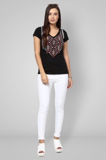 FAME FOREVER Embroidered V-Neck Top