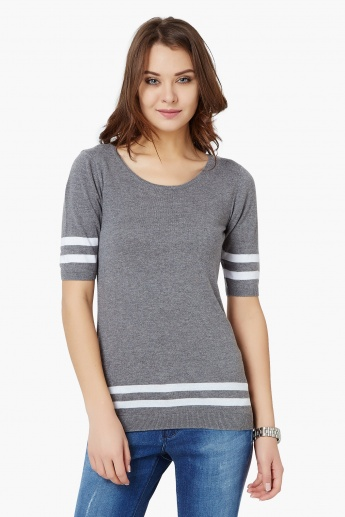 FAME FOREVER Striped Flat Knit Top