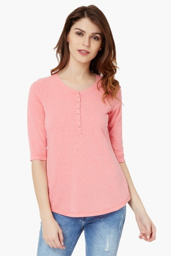 FAME FOREVER Henley Neck Top