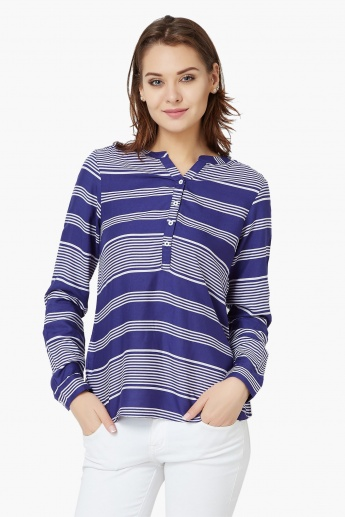 FAME FOREVER Striped Button-Up Blouse