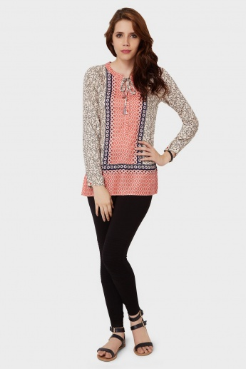 FAME FOREVER Printed Tie-Up Neck Blouse