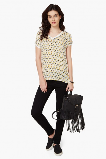 FAME FOREVER Printed High-Low Hem Top